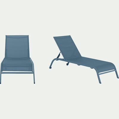 Bain de soleil en aluminium et textilène - bleu figuerolles-HARI