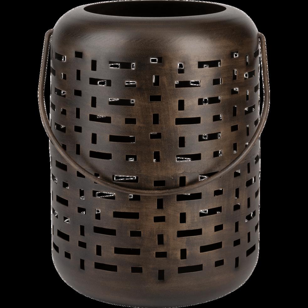 Lanterne en métal marron H35xD25cm-Manne