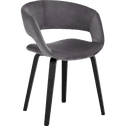 Chaise en velours gris restanque avec accoudoirs-JOYAU