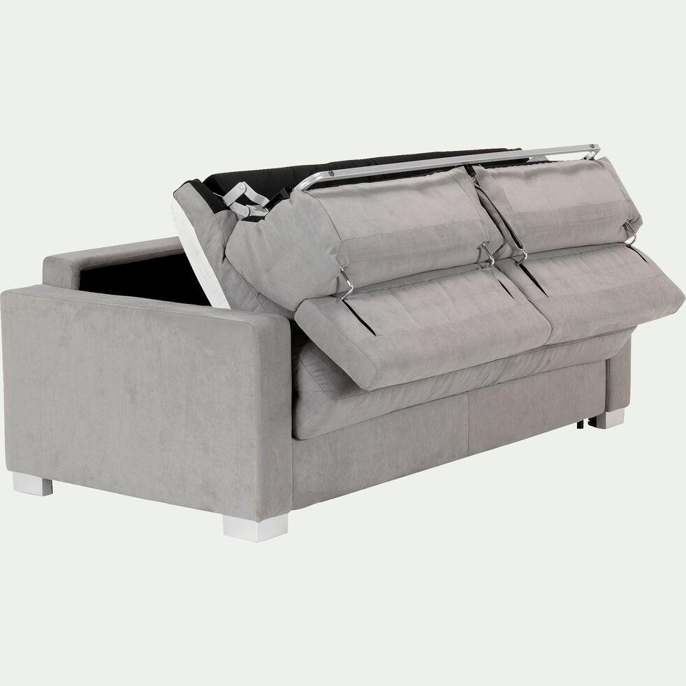 Canapé 3 places convertible microfibre gris clair accoudoirs 15cm-MAURO