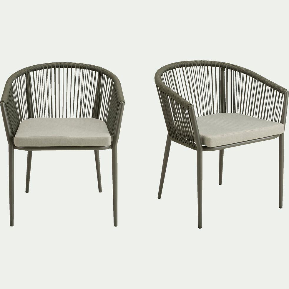 Chaise de jardin avec accoudoirs en aluminium et corde - vert cèdre-ANTALIA