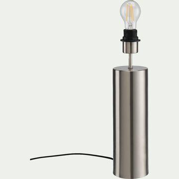 Pie de lampe en acier - argenté D10xH41cm-AGATHA