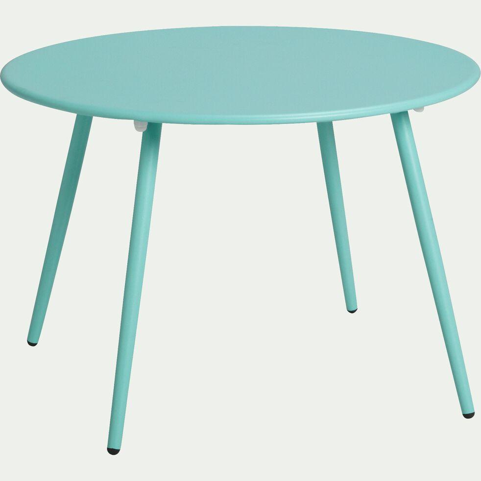 Table basse de jardin bleue en acier-BULL