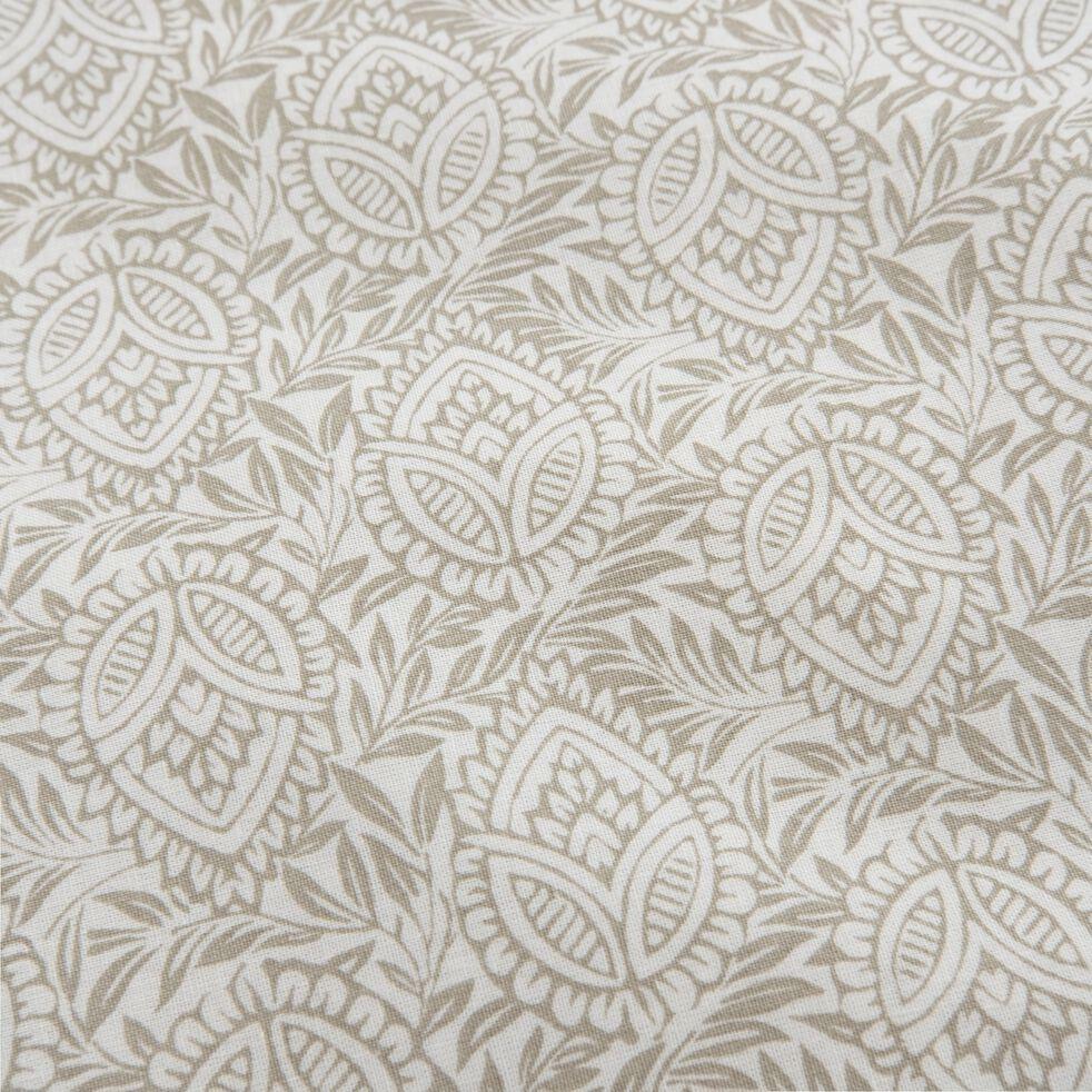 Drap housse en coton motif Amande - gris borie 140x200cm B25cm-CIGALO