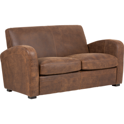 Canapé 2 places fixe en croûte de cuir-Cuba