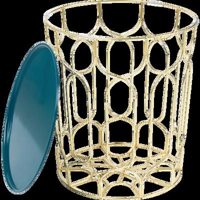 Bout de canapé en acier filaire avec plateau bleu niolon-PAIO