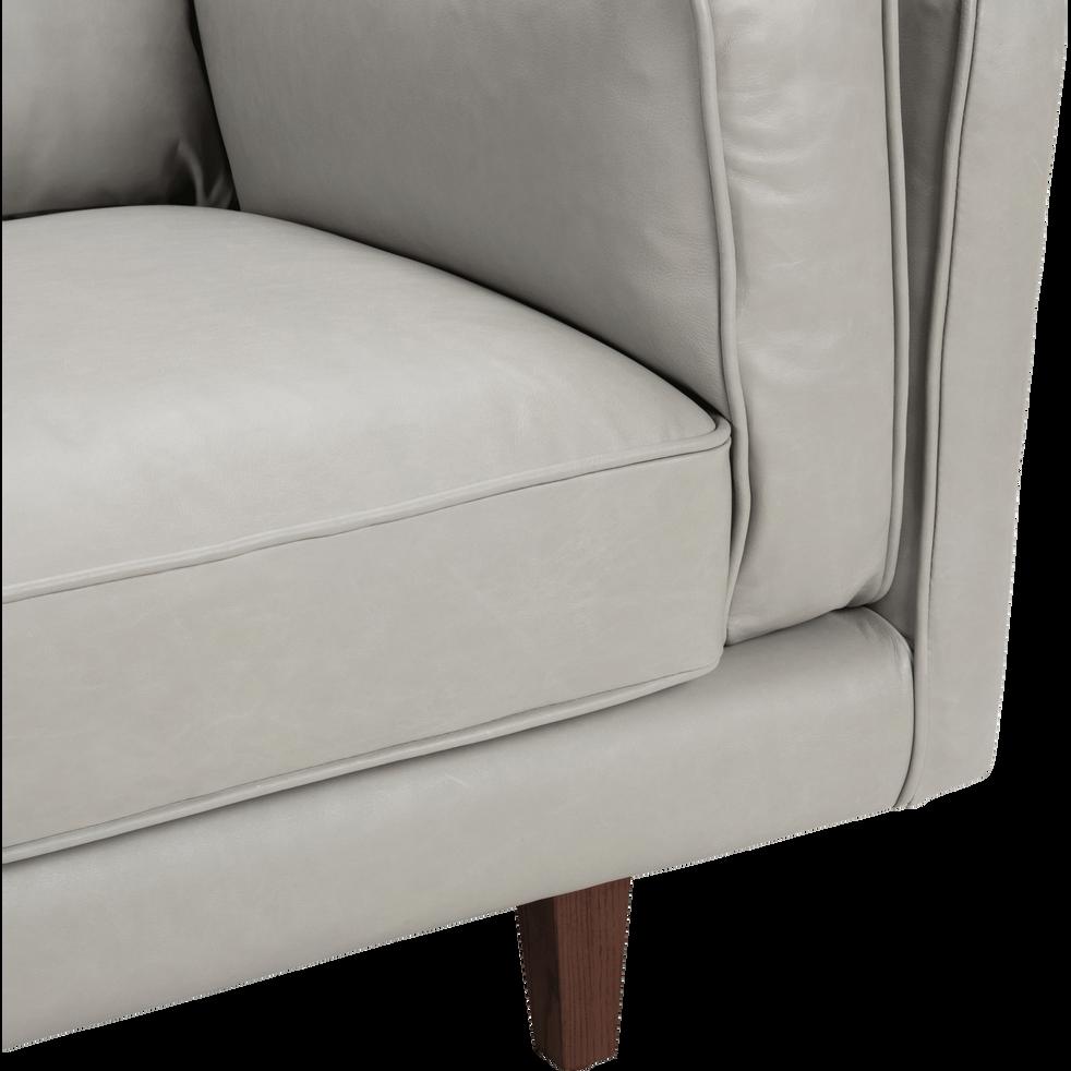 Canapé 2 places fixe en cuir gris-BROOKLYN