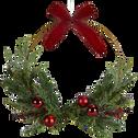Couronne de Noël baies rouges D55cm-MONGE