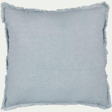 Coussin frangé en lin et coton - bleu 40x40cm-VENCE