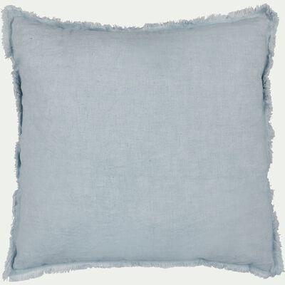 Coussin à franges en lin et coton - bleu 40x40cm-VENCE