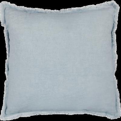 Coussin à franges en lin et coton bleu 40x40cm-VENCE