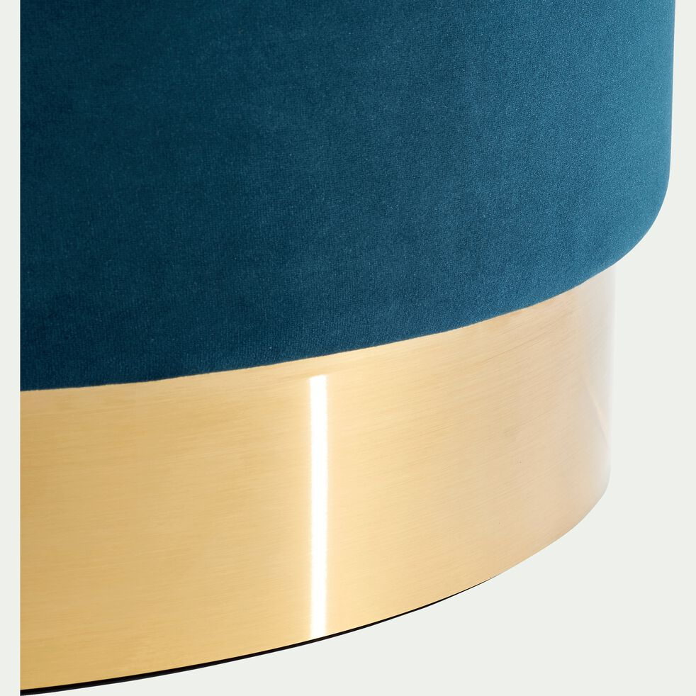 Pouf en velours petit modèle bleu figuerolles D35cm-AUVE