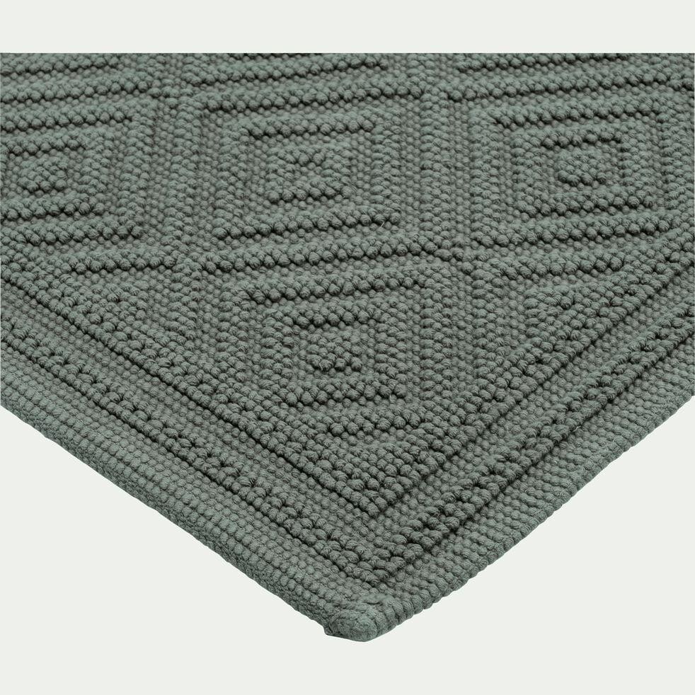 Tapis de bain surpiquage losanges en coton - vert cèdre 60x100cm-SADOU