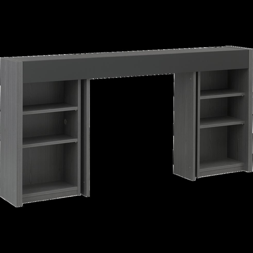 t te de lit rangeante grise pour lit l160 cm brooklyn l160 cm t tes et tiroirs de lit alinea. Black Bedroom Furniture Sets. Home Design Ideas