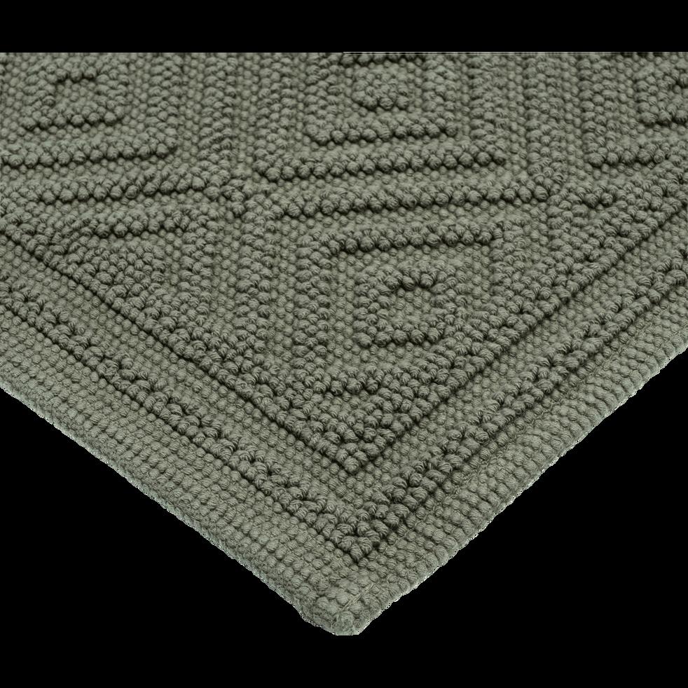 Tapis de bain en coton 50x70cm piquage en losanges vert cèdre-SADOU