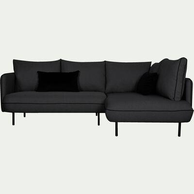 Canapé d'angle fixe droit gris calabrun-SAOU