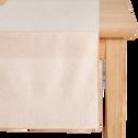 Chemin de table en lin et coton rose grège 50x150cm-NOLA