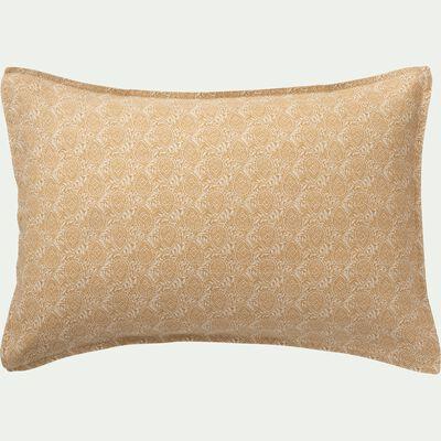Lot de 2 taies d'oreiller en lin motifs Amande - blanc capelan 50x70cm-GOYA