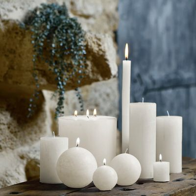 Bougie cylindrique - D7xH15cm blanc nougat-BEJAIA