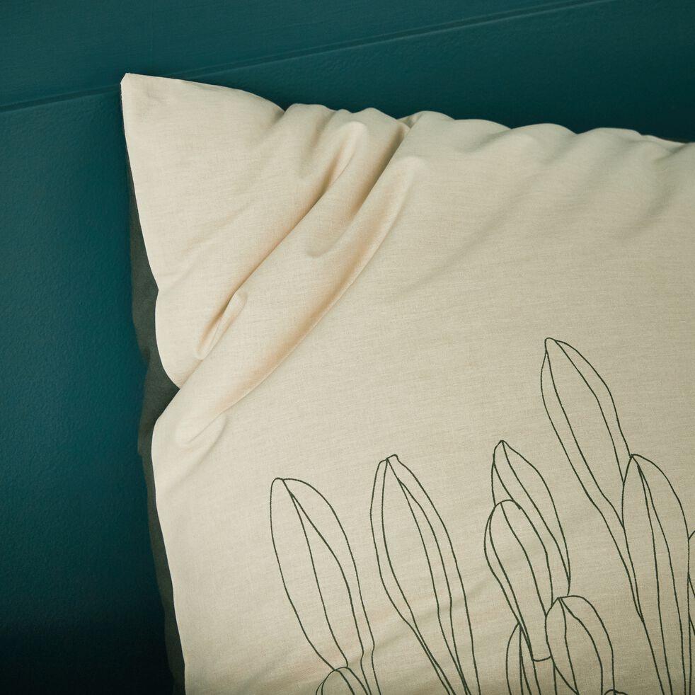 Lot de 2 taies d'oreiller en lin - vert olivier 65x65cm-VENCE