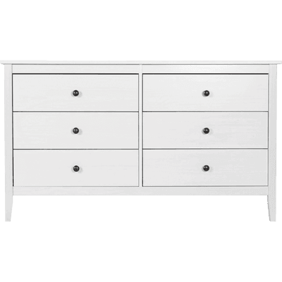 Commode 2x3 tiroirs en pin massif Blanc-LISON