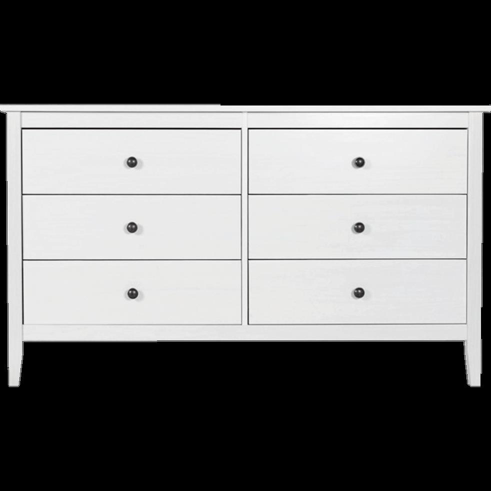 Commode 2x3 tiroirs en pin massif Blanc-LISON