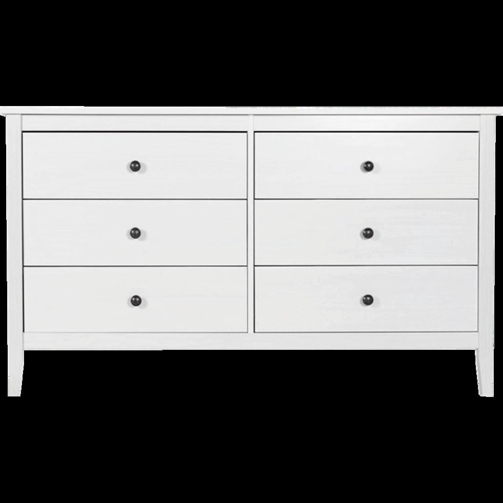 commode 2x3 tiroirs en pin massif blanc lison commodes alinea. Black Bedroom Furniture Sets. Home Design Ideas