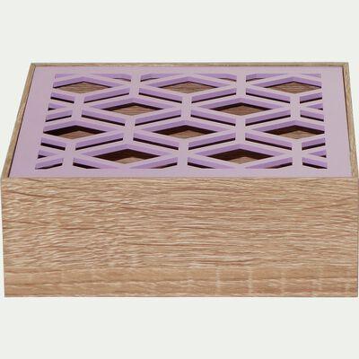 Boîte à thé avec couvercle ajouré rose 16x16cm-SPIRIT