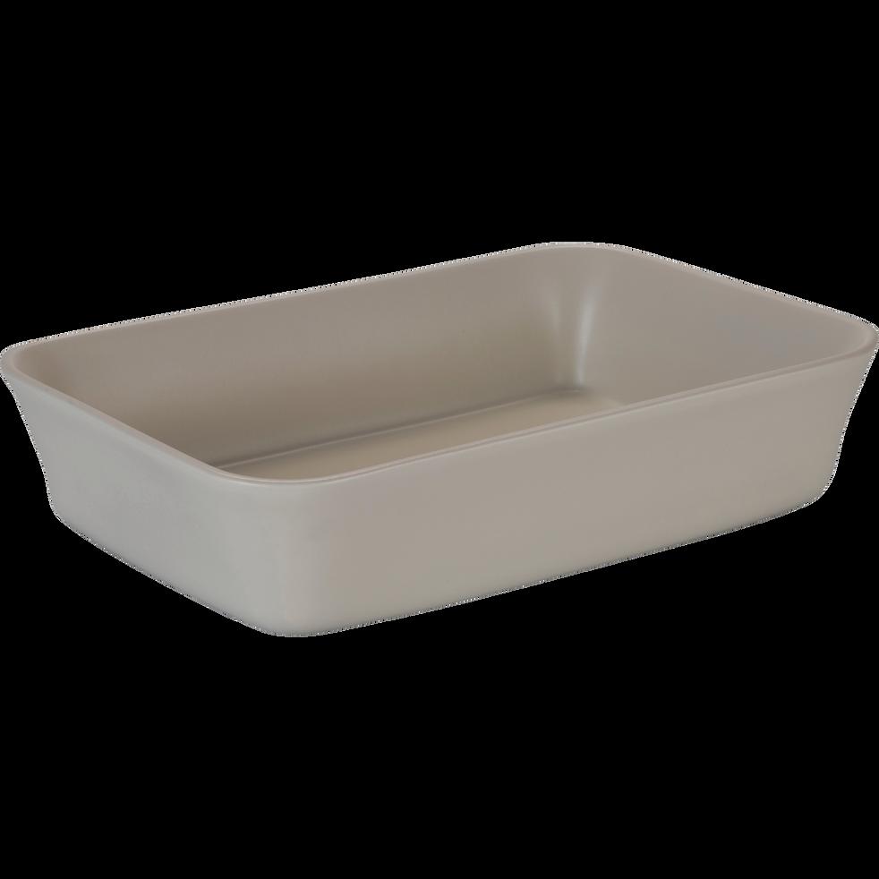 Plat à four rectangulaire en grès beige roucas 32x20cm-ALVARA
