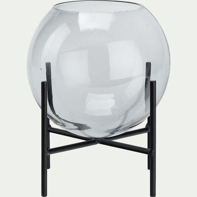 Photophore en verre avec support en fer - gris D16,3xH19,3cm-GUDINA