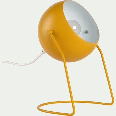 Lampe à poser ronde en métal jaune h26cm-BAOU