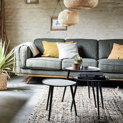 Canapé 3 places fixe en tissu gris restanque-ASTORIA