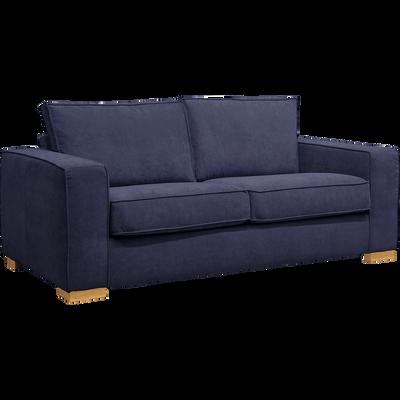 Canapé 2 places convertible en tissu bleu myrte et matelas 16cm à mémoire de forme-CALIFORNIA