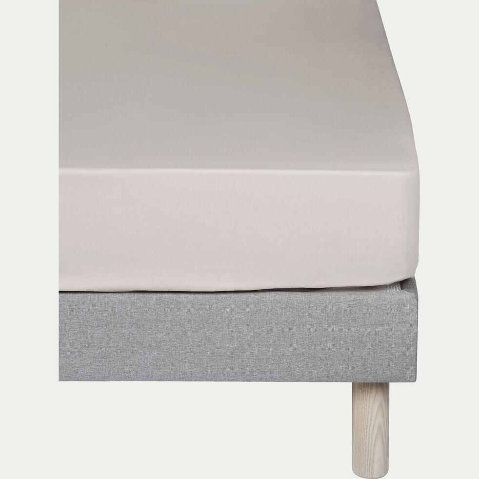 Drap housse en coton - beige roucas 90x200cm B25cm-CALANQUES
