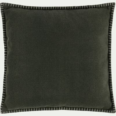 Coussin avec passepoil en polycoton vert cèdre 45x45cm-BINH