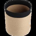 Panier de rangement en lin noir D30xH19cm-DAYO