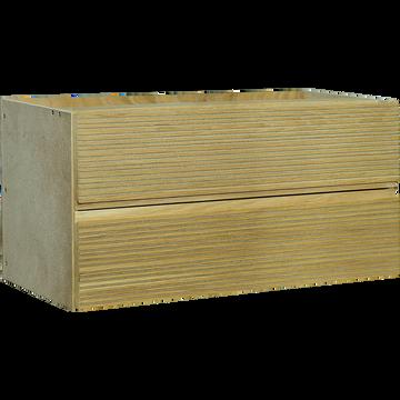 Bloc de 2 tiroirs striés format long en chêne clair-FINE