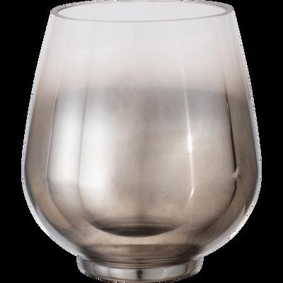 Photophore en verre gris H15cm-CLAVA