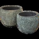 Cache-pot en céramique brossé gris et bleu H12xD16 cm-Andijan