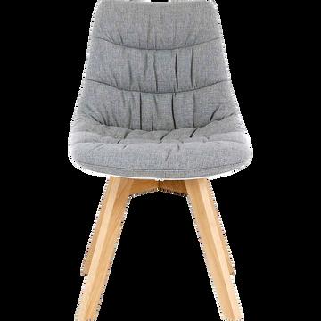 Chaise en tissu gris avec piètement en bois-JOY