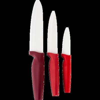 Lot de 3 couteaux de cuisine rouge-CERA