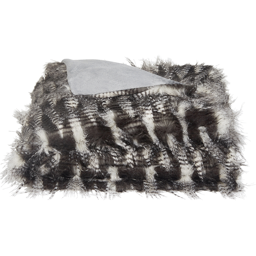 Plaid imitation fourrure gris 130x170cm-LINH