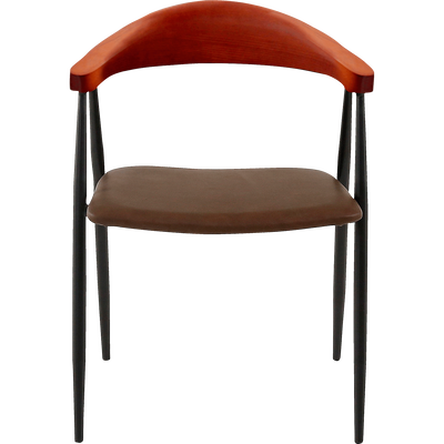 Chaise rétro avec accoudoirs marron-CHARLOTTE