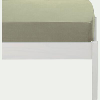drap housse en lin lavé vert olivier 90X140 cm-VENCE