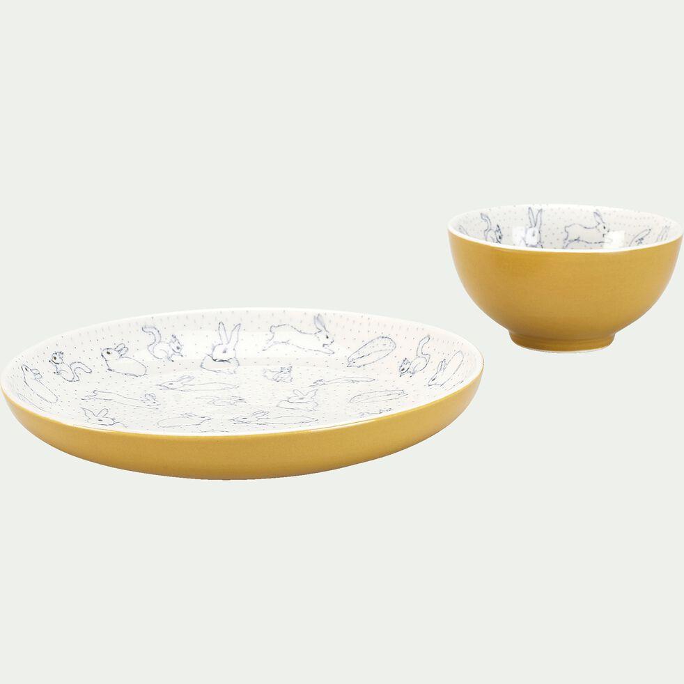 Coffret repas enfant - jaune moutarde-Bestiaire