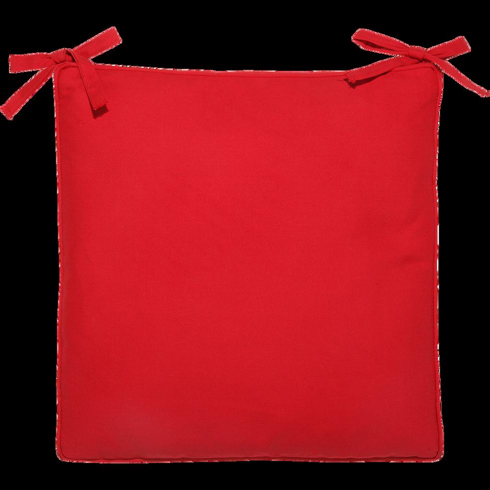 Galette de chaise carrée en coton rouge 38x38cm-Best