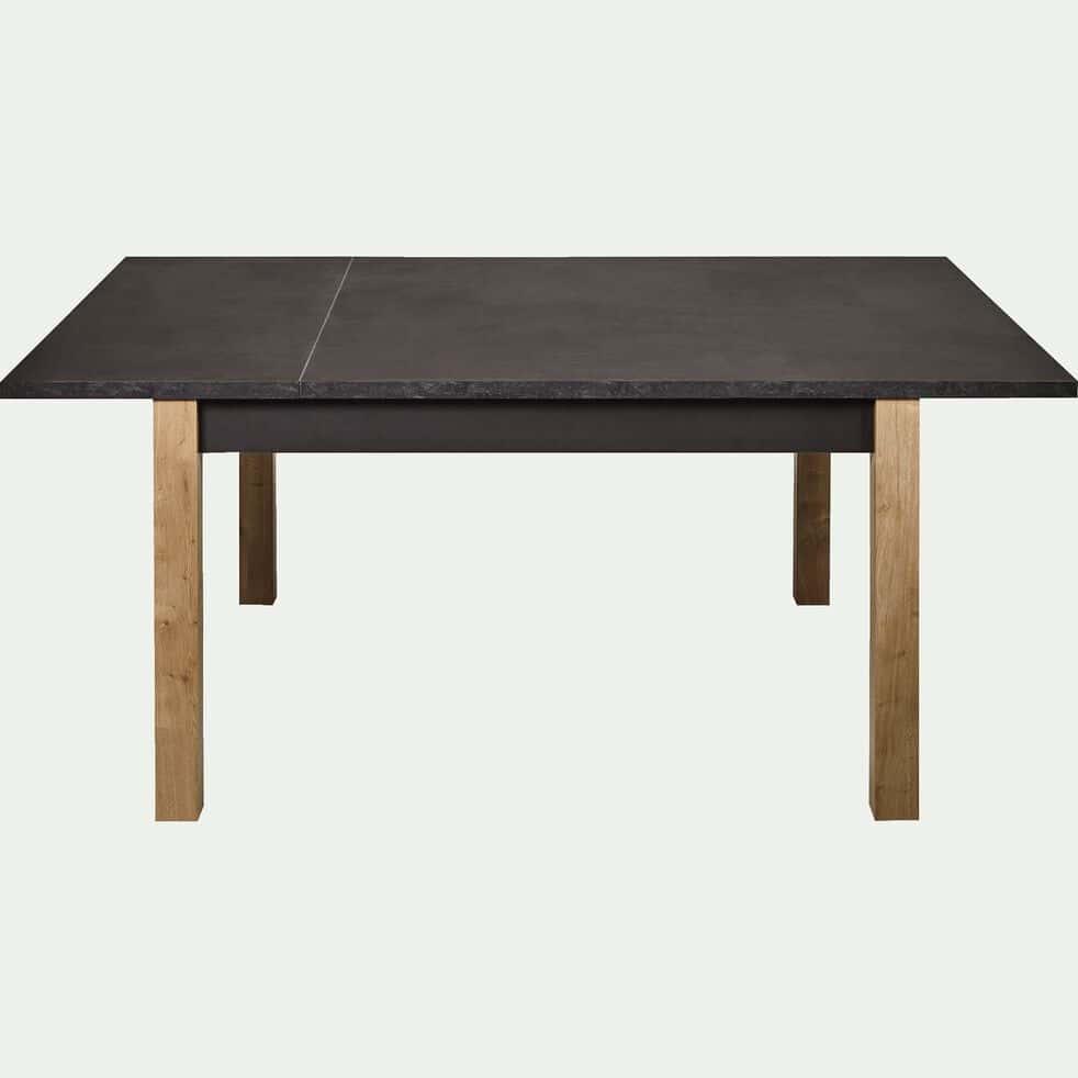 Table Repas 2 Personnes madon - table de repas carrée extensible effet ardoise aux reflets marron -  6 à 12 places