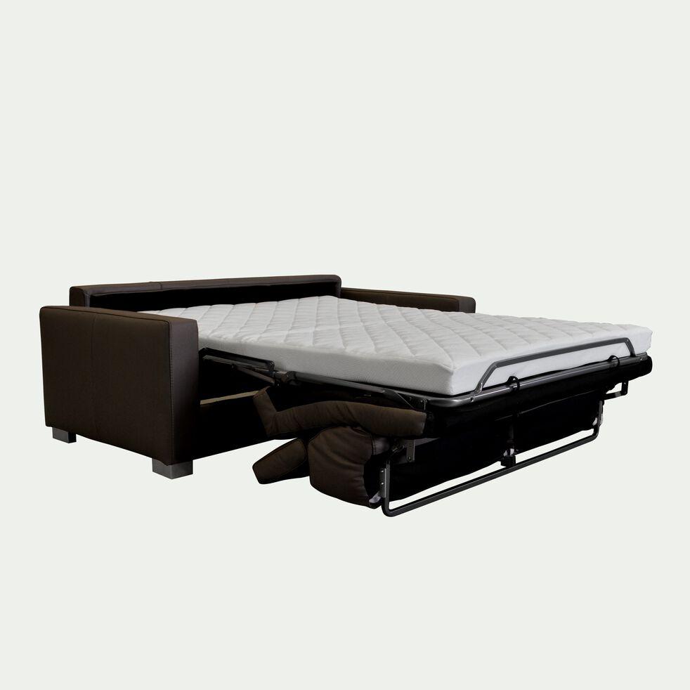 Canapé 3 places convertible en cuir avec accoudoir 15cm - marron-Mauro