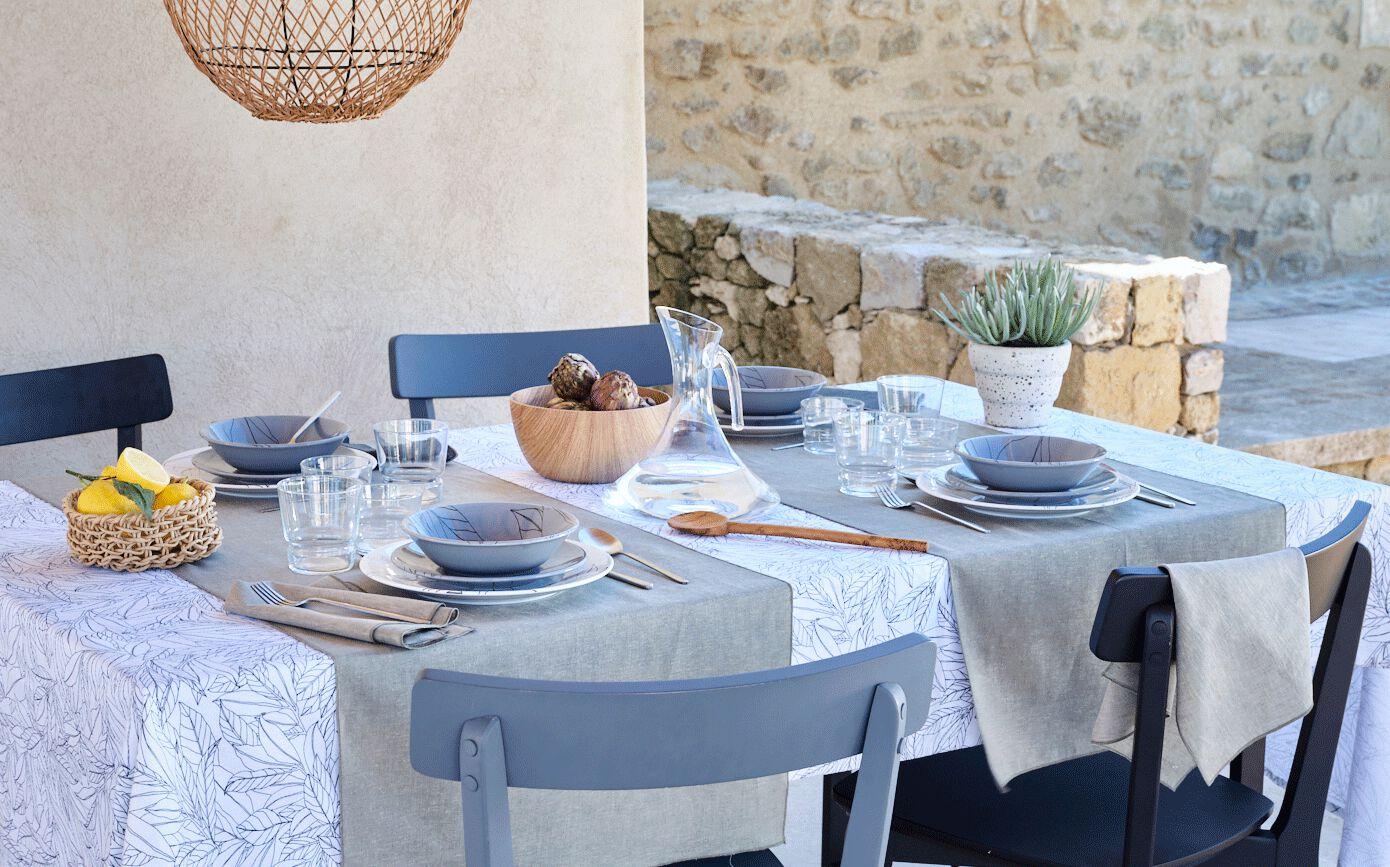 Lot de 2 serviettes de table en lin et coton vert olivier 41x41cm-NOLA