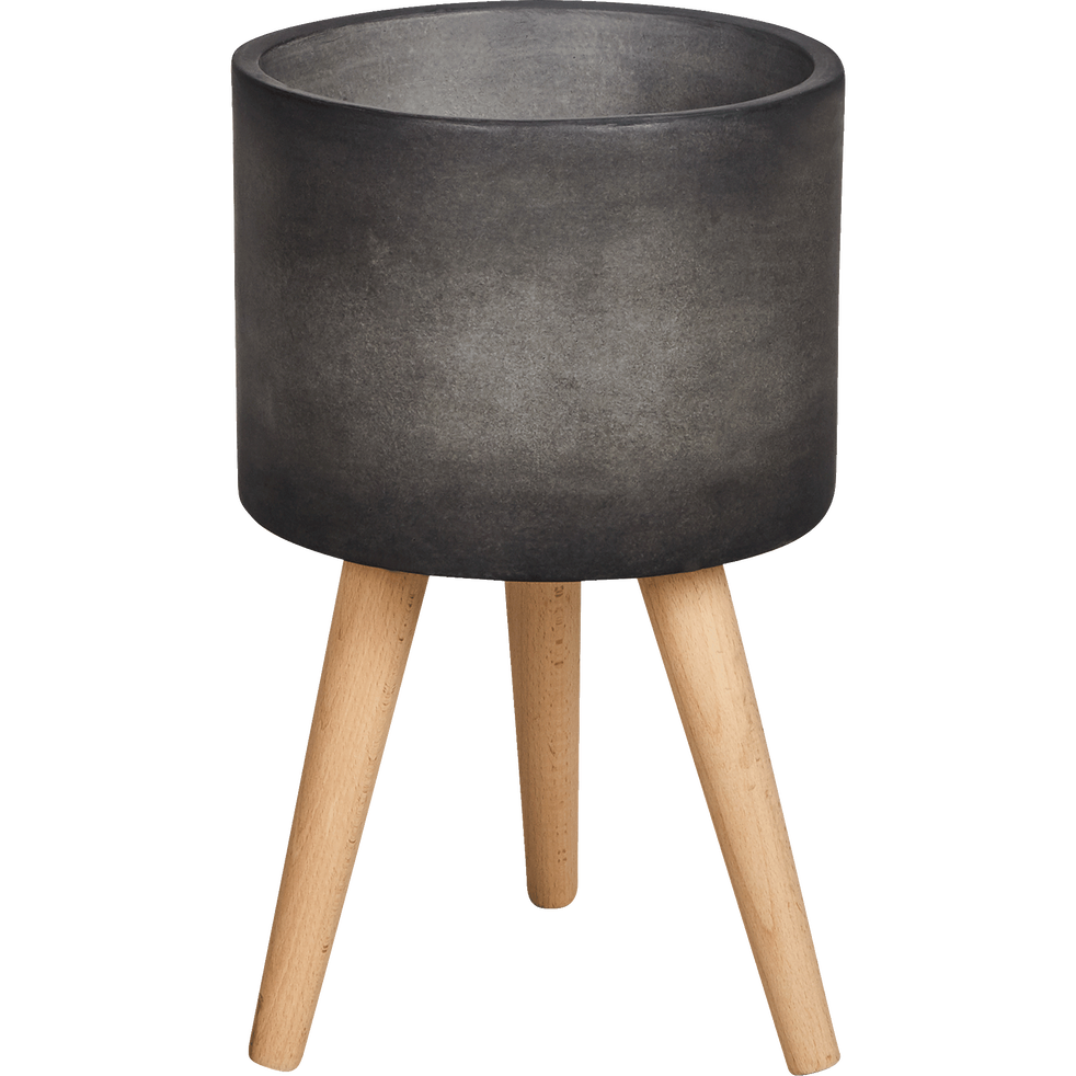 cache pot en pierre et bois h48xd31cm tamaris cache. Black Bedroom Furniture Sets. Home Design Ideas